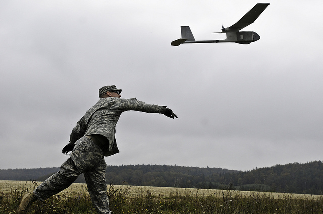 Soldier And Unmanned Aerial Vehicle