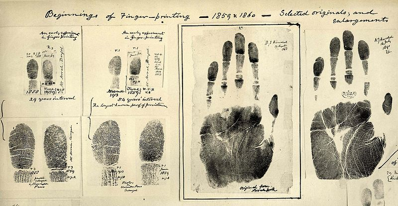Finger and handprints from 1859.