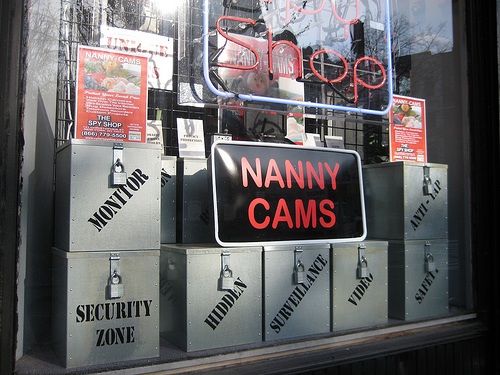 A window for a shop selling nanny cams. Image by M S.