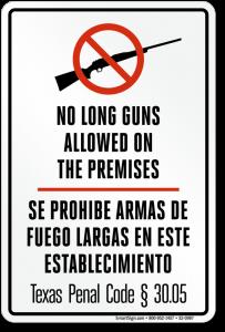 30.05 no long guns sign