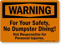 No Dumpster Diving Sign