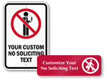 Custom No Soliciting Signs