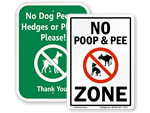 No Dog Pee Signs