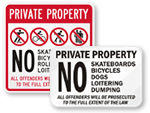 Private Property No Bicycling Allowed Signs