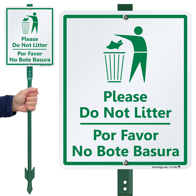 Vertical Metal Sign Multiple Sizes Please Do Not Litter Por Favor No Bote Basura