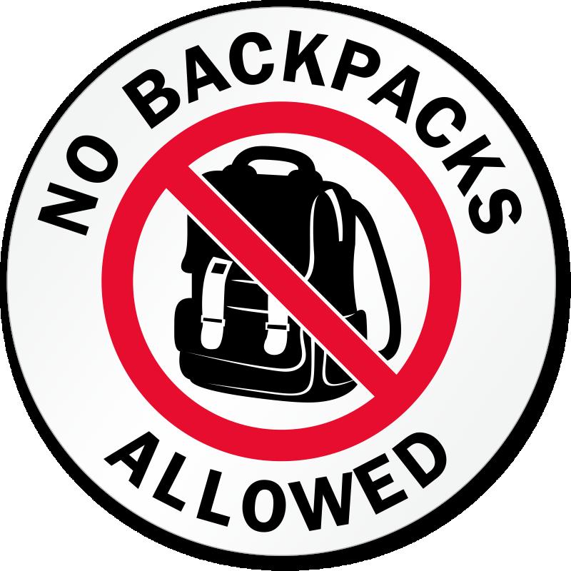No Backpacks Allowed Label, SKU: LB-2987