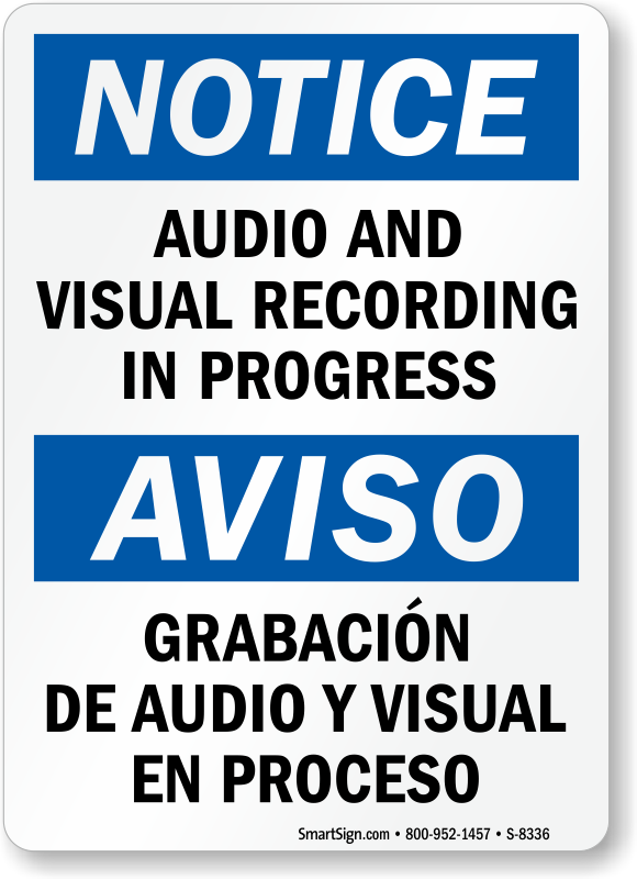 photo relating to Video Surveillance Sign Printable identify Bilingual Music and Visible Recording within Breakthroughs Signal, SKU