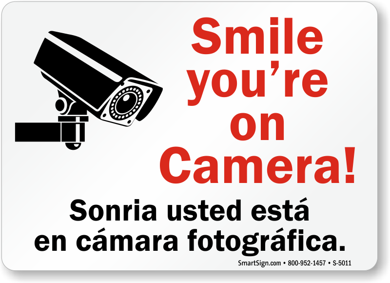 photograph about Smile You Re on Camera Sign Printable known as Bilingual Smile Youre upon Digicam Indicator, SKU: S-5011