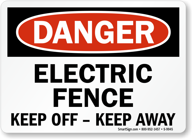 Sign with Graphic 18 x 12 Shock Warning Electric Fence
