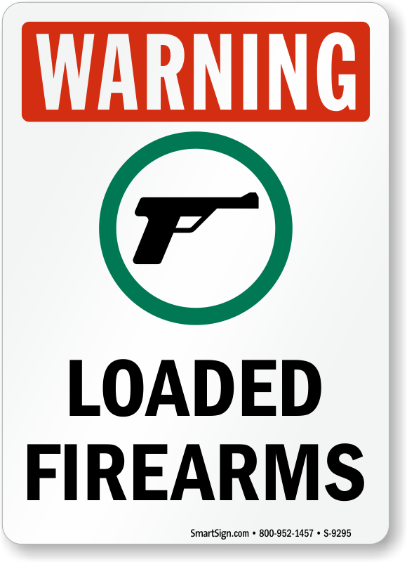 Warning Loaded Firearms Sign Sku S 9295