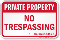Alabama Private Property Sign