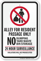 Alley For Resident Passage Only Dumpster Rules Sign