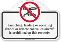 Launching Landing Or Operating Drones Dome Top Sign