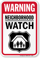 Neighborhood Watch Warning Sign With Graphic