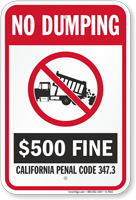 No Dumping California State Sign