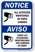 Notice Bilingual Video Camera Sign