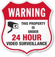 Warning 24 Hour Video Surveillance Shield Sign