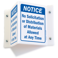 No Solicitation or Distribution Materials Allowed Sign