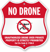 California No Drone Shield Sign