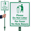 Bilingual No Littering LawnBoss® Sign & Stake Kit