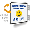 Double Sided Smile You're On Camera Sign