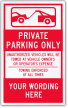 Custom Private Parking Only Label