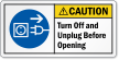 ANSI Caution Unplug Electrical Supply Label