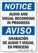 Bilingual OSHA Notice Audio Surveillance Sign