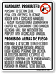 Bilingual No Concealed Carry Sign, Texas (Vertical)