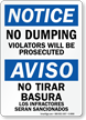 Bilingual OSHA Notice No Dumping Sign