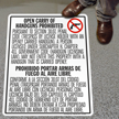 SlipSafe™ Bilingual Floor Sign - Texas Open Carry Regulations