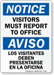 Bilingual Notice Visitors Must Register Sign