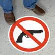 SlipSafe™ Bilingual Floor Sign - Firearms Not Allowed Symbol