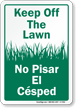 Bilingual Keep Off Grass Sign