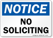 OSHA Notice No Soliciting Sign