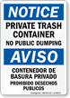 Bilingual No Dumping Sign