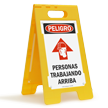 FloorBoss XL™ Spanish Danger Persons Working Above Stand-Up Sign