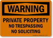 Private Property OSHA Warning Sign