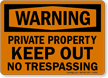 Private Property Warning Sign